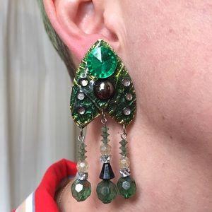 Vintage Jewelry - Vintage Handmade Green Beaded Earrings